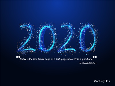 2020 shiny scatter lighting new year 2020 1st day january celebration animation colorful character abstract dribble happy vector illustration design