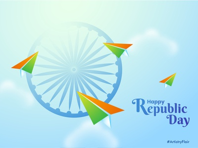 26 January 2020 ashokchkra happy republic day india flag plane paper artistryflair republicday 26 january celebration animation colorful abstract dribble happy vector illustration design
