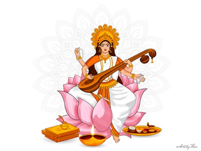 Vasant Panchami devi instrument books learning knowledge music art goddess of wisdom veena maa saraswati basant panchami vasant panchami design colorful sketch character dribble happy vector illustration