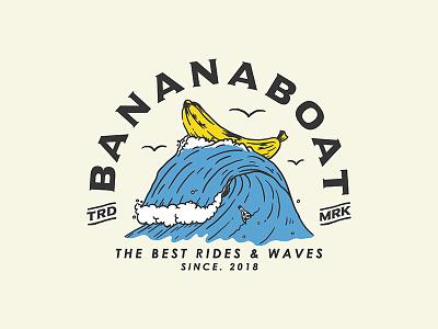 Bananaboat clothing brand branding badge design design for sale logo drawing illustraion ink tattoo surf vintage design typogaphy art merch design bandmerch design sketch artwork