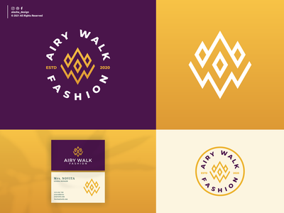 AIRY WALK FASHION LOGO DESIGN company graphic art monogram logotype alphabet corporate fashion illustration letter abstract concept initial sign logo shape business symbol icon design