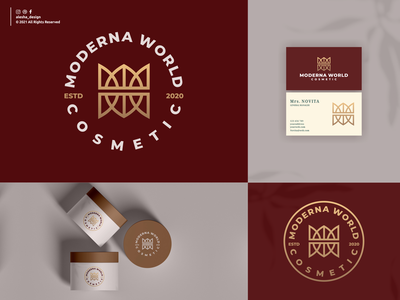 MODERNA WORLD COSMETIC LOGO DESIGN alesha design vector symbol logo inspirations initials typography excellent elegant apparel instagram behance dribbble letters awesome initial pinterest lettermark cosmetic