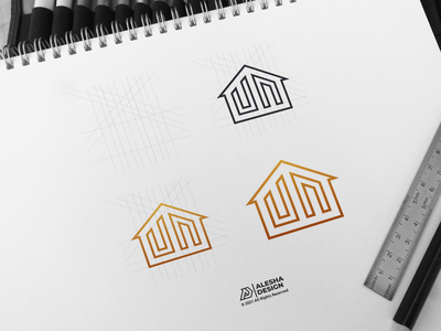 un logo design un logo design line art alesha design branding creative company person modern letters wordmark personal lettermark letter initials inspirations initial awesome dribbble behance