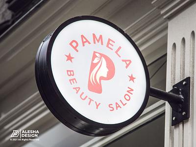 Pamela Beauty Salon Logo Design pinterest awesome inspirations alesha design modern beautiful girl female cosmetic face illustration hair icon style fashion beauty vector design salon logo