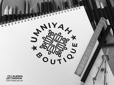Umniyah Boutique Logo Design process store sport illustration apparel elegant t-shirt alesha design boutique letters initials design inspirations initial logo awesome