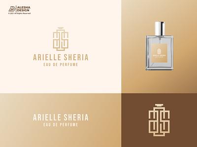 AS letter + Perfume Bottle Logo Design gold elegant bottle apparel alesha design perfume vector letters initials design inspirations initial logo awesome