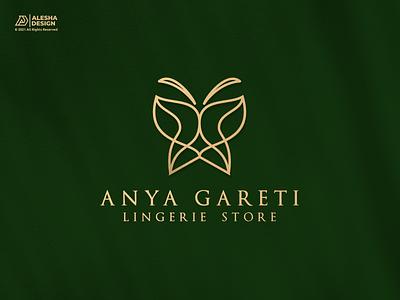 Anya Gareti Luxury Lingerie Logo Design line line art icon vector art butterfly mark letters initials inspirations design initial brand identity alesha design luxury elegant awesome logo