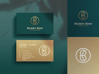 Beauty Rose Logo Design graphic design logo awesome design initial inspirations brand identity initials letters flower store rose icon vector luxury brandingillustration elegant gold line art lineart