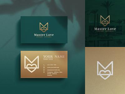 Master Love Logo design letter m line art gold letter head business card branding elegant luxury vector icon store love letters initials brand identity inspirations initial design awesome logo design