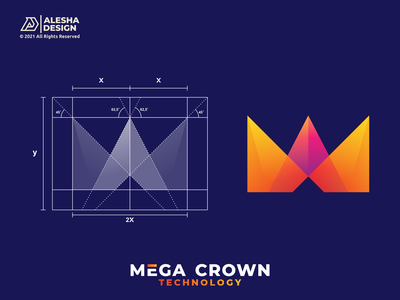 Mega Crown Logo Concept logo color awesome design initial inspirations initials letters tech technology negative space combination grid geometric mark identity symbol software letter m crown