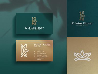 K Lotus Flower Luxury Brand Logo Design lotus letter k line art brandinggold luxury vector elegant brand identity flower simple minimal icon letters initial initials design inspirations awesome logo