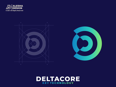DELTACORE Logo Concept wireless letters cd dc mark wifi technology negative space combinations grid grids identity symbol software color tech design inspirations awesome logo