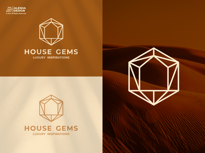 House Gems Logo Design branding gold icon elegant vector store jewelry modern luxury diamond home house gems initial initials design inspirations awesome logo