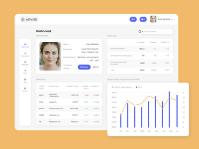 Advisor finance dashboard
