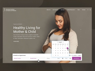 Health Homepage clean form calendar health home nav brand homepage web website ui design