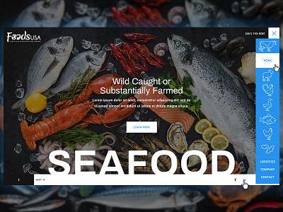 Foods USA Website typography home icons nav brand homepage web website ui design