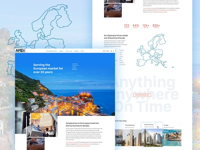 American Export Co. ecommerce design global store shipping ecommerce ui ux home nav brand homepage web website design