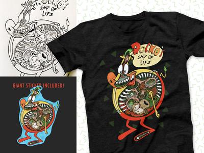 Rockos End of Life Shirt typography dissection cow sticker cartoon shirt brand logo branding illustration design