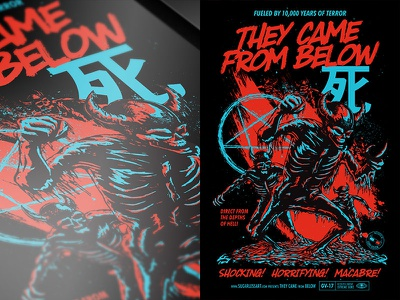 They Came From Below macabre creature scifi typography movie horror skeleton monster poster vector illustration print design