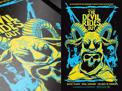 The Devil Rides Out branding satan macabre devil horror movie poster typography design vector print illustration