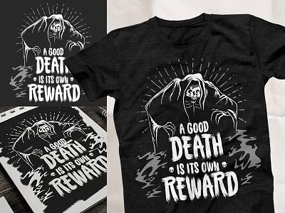 A Good Death Is Its Own Reward halloween death grim reaper shirt illustration print brand typography vector branding logo design