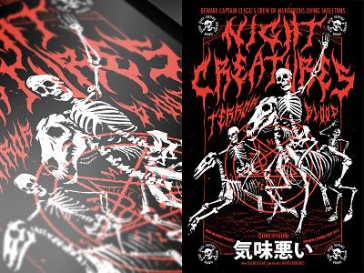 Night Creatures Poster poster art movie poster movie monster horror designs skeleton halloween illustration design print poster