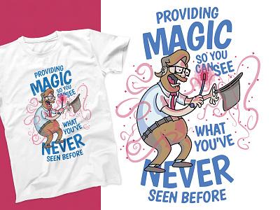 Magic Shirt magic technology cartoon vector typography print illustration logo branding design