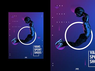 VANS SPORTS- Commercial poster concept neon colors icon logo typography poster design poster illustration 3d art illustrator design branding