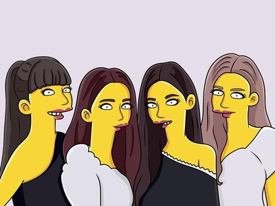 Yellow Cartoon Character For BlackPink art design illustration girlband korean bp yellowcharacter character simpsonstyle simpson blackpink