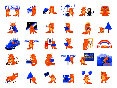 Fox Character spot illustration texture character fox