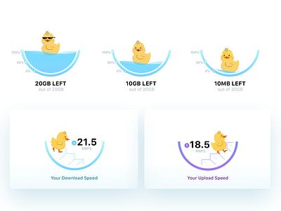 Data Graph & Speed Test app ui character design illustration