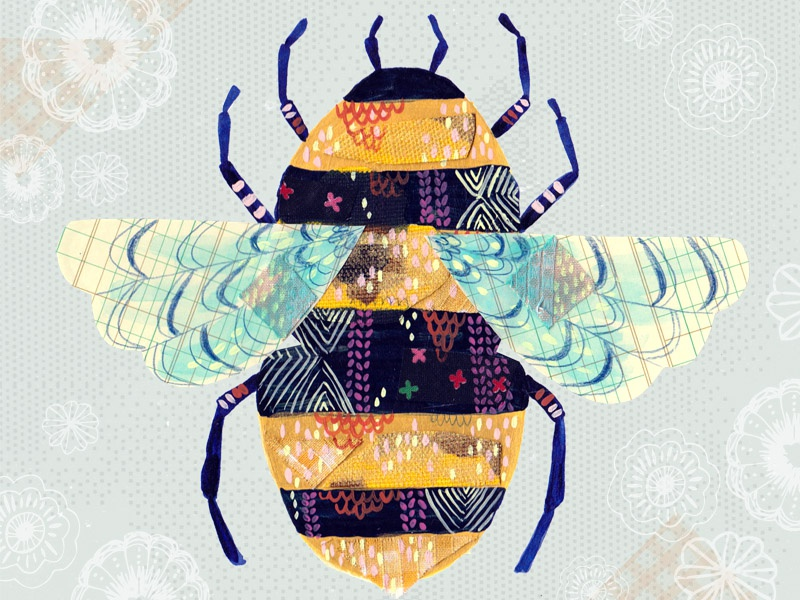 Bee bee nature illustration pattern painting collage