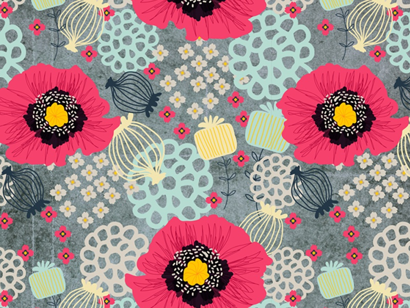 Poppies and Pods illustration pattern print pattern surface design floral repeat poppies nature