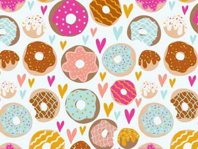Donut love donut donuts pattern print pattern surface design food cute art illustration conversational dessert