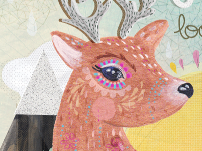 go softly  art deer nature collage texture animal pattern illustration