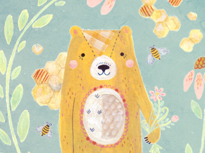 honey bear illustration art honey bear bee nature animal floral