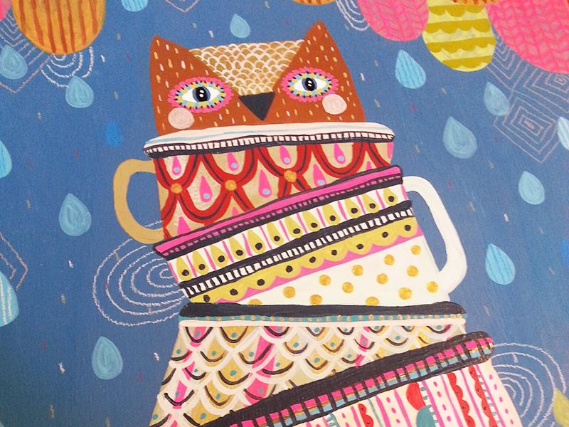 Owl cup  owl bird nature illustration painting mixed media tea tea cup print pattern pattern