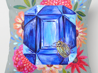 Floral Sapphire pillow home decor painting beetle sapphire gemstone gem nature surface design
