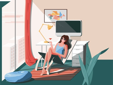 Home Vacation 🕶🍹 random vacation home office vetor quickie illustration