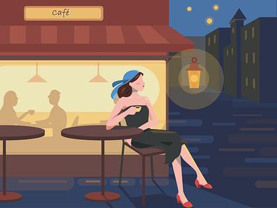 Cafeteria at night.. retouch random illustration