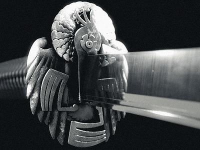 Le Héron Noir 黒 鷺 - Katana render looping black  white blackandwhite ronin samurai japan logo motion graphics mechanical heron tsuba blade saber katana motion animation blender3d blender 3d