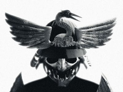 Le Héron Noir 黒 鷺 - Menpō render black blackandwhite motion design motion graphics motiongraphics bird logo bird heron skull ronin sculpt mask samurai animation mechanical japan blender3d blender 3d