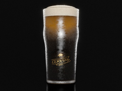 Cervoiz - Beer glass packshot branding and identity identity branding identity identity design brand identity branding design branding brand glass gold foil golden gold beer branding beer label packshot beer black blender3d blender 3d