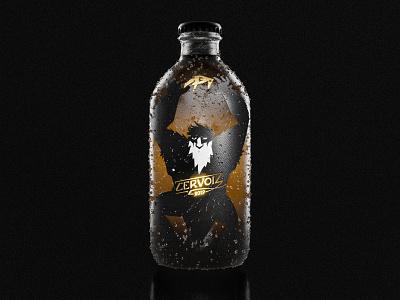 Cervoiz - Bottle packshot packaging design packaging packshot ogre gold gold foil illustrator illustration beer art beer can beer branding beer label luxury beer branding design black blender3d blender 3d