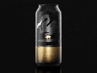 Cervoiz - Beer can packshot packaging branding design minimalistic golden dragon branding brand beer art beer can beer branding beer label beer illustration gold black blender3d blender 3d