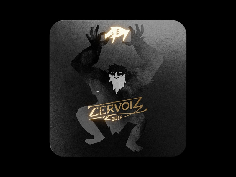 Cervoiz - OGRE boar illustrations illustration art coaster illustrator vectorart monster ogre beer brand gold black branding design blender3d blender 3d vector art vector illustration vector illustration