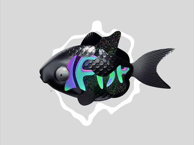 FISHBONES character grainy grain noise blackfish motion graphics motion graphic motiongraphics motion design motion 3d blender3d black blender glitch animated gif loop fishbones animation fish