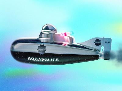 Aquapolice Submarine render ocean water police car blendercycles blender3dart blender 3d 3d artist 3d art vehicle design illustration blender3d blender 3d aquatic police chrome colorful underwater submarine