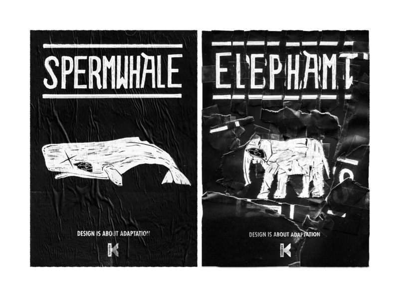Design is about adaptation illustration advertising spermwhale elephant whale blackandwhite black tape torn paper torn collage maker collage art collageart collages collage poster a day poster art posters poster design poster
