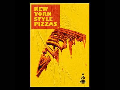 ANGLE PIZZA Poster 1/3 typography typography art new york newyork 3d artist 3d art pizzas poster a day poster design poster art posters poster red yellow illustration blender3d blender 3d pizza logo pizza